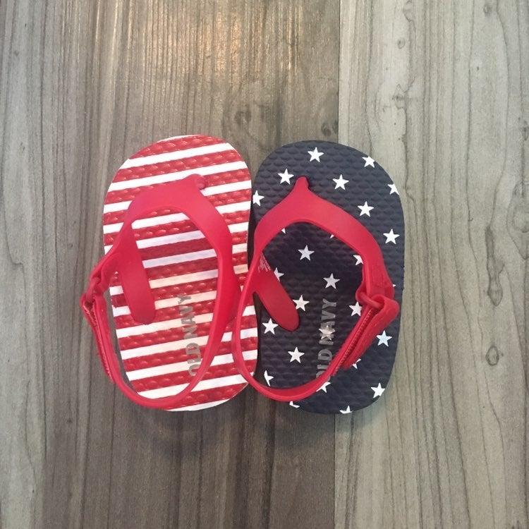 American Flag Baby Flip Flops