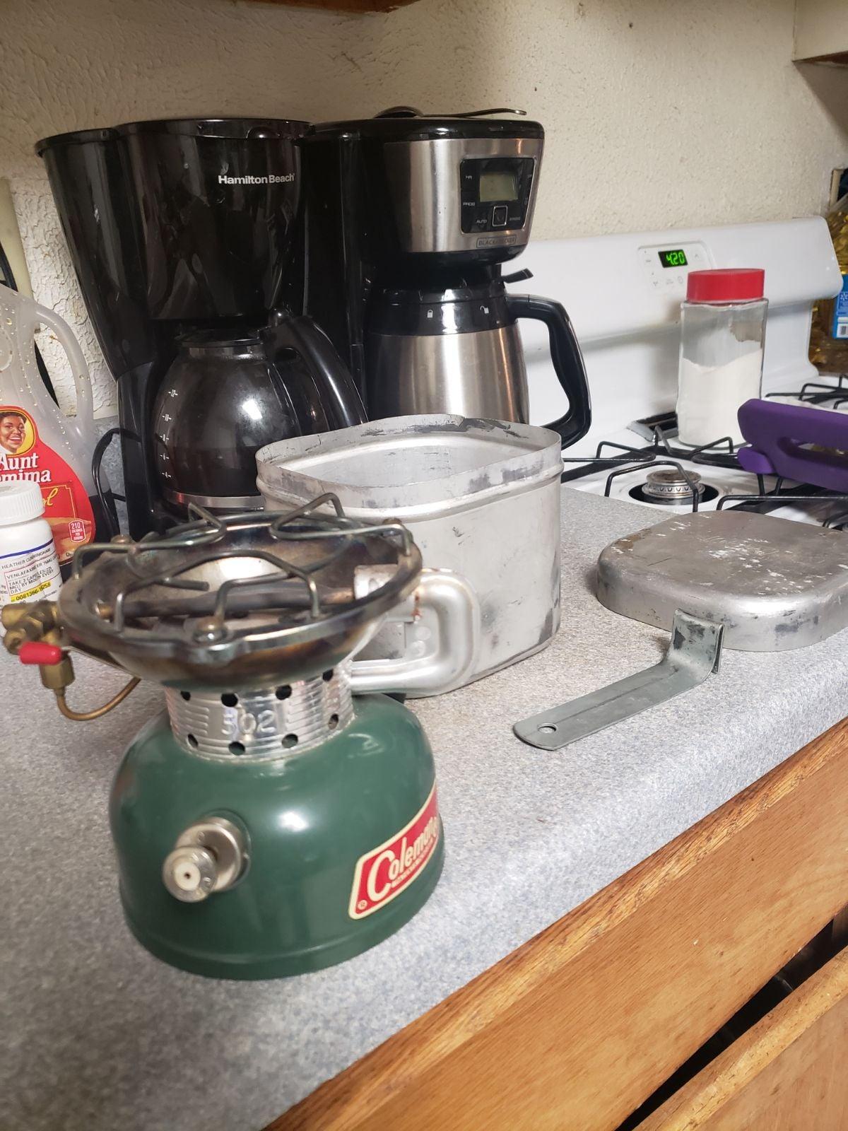 Vintage Coleman burner, pot and skillet