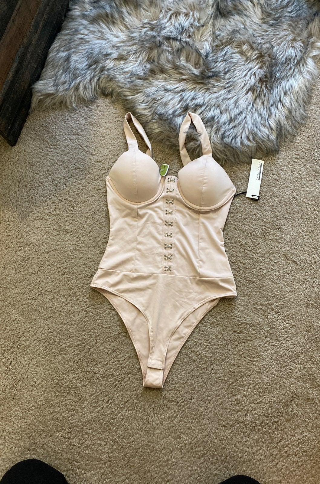 Nude dusty pink corset bodysuit