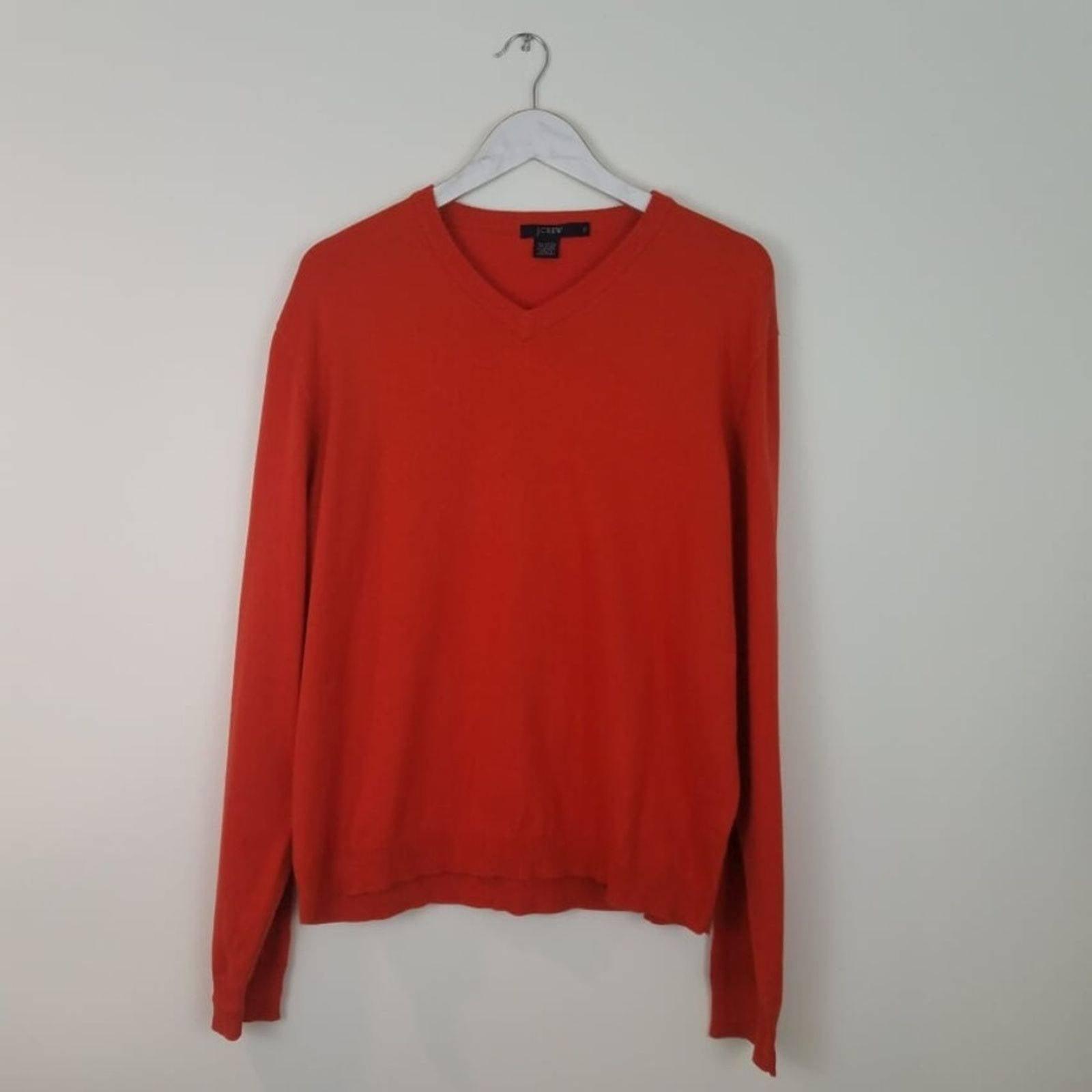 J. CREW V Neck Burnt Orange Sweater XL