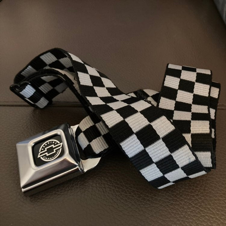 Chevy Seatbelt Checkered Buckle