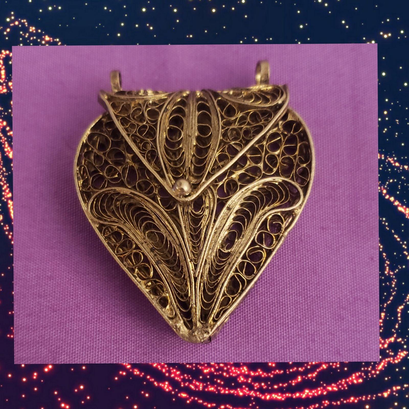 Art Nouveau Silver Filagree Heart Locket