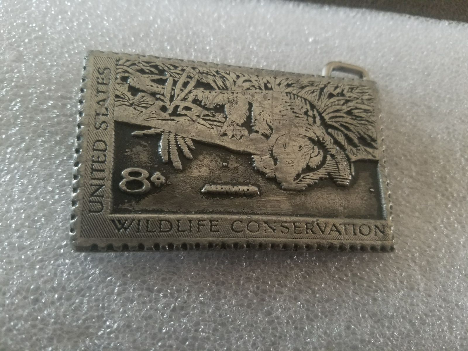 VINTAGE SOLID PEWTER WILDLIFE BUCKLE