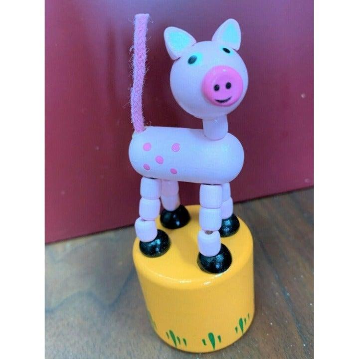Retro Classic Wooden Push Thumb Puppet Toy - Pig / Farm Animal