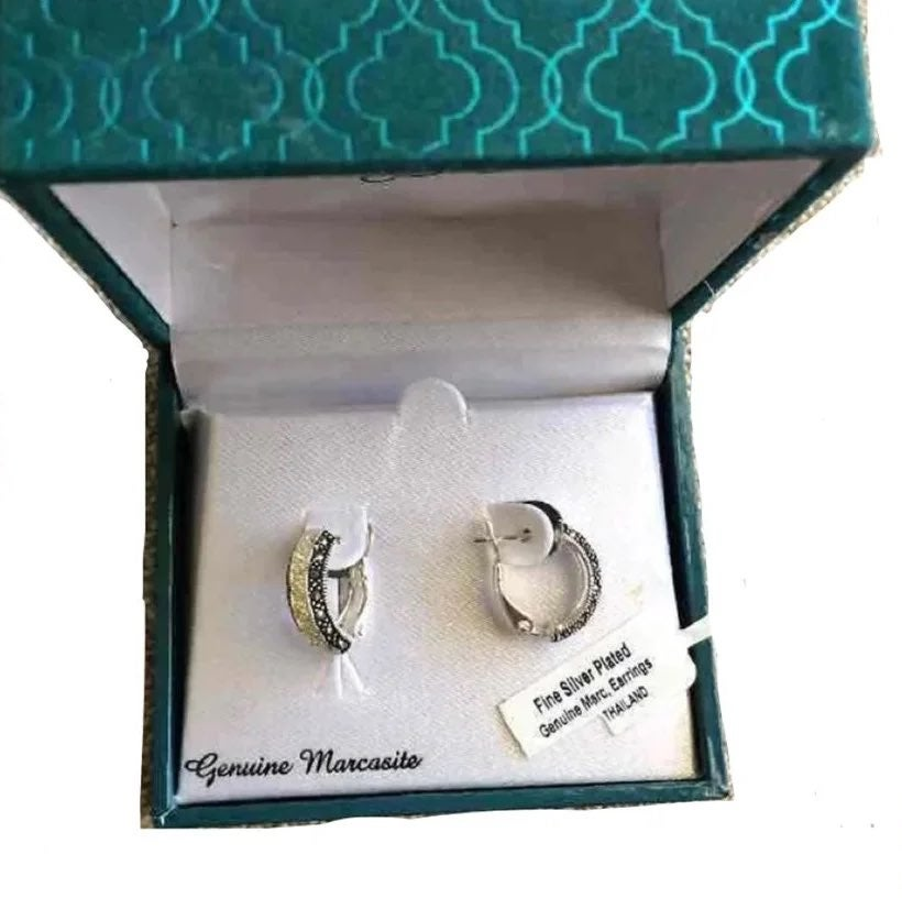 Silver genuine Marcasite gemstone hoops