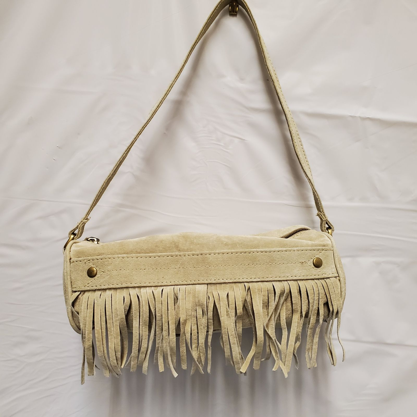 Candies Small Beige Suede Shoulder Bag
