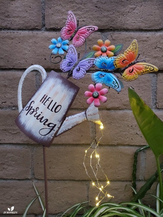 Metal BUTTERFLY Watering Can Solar LED