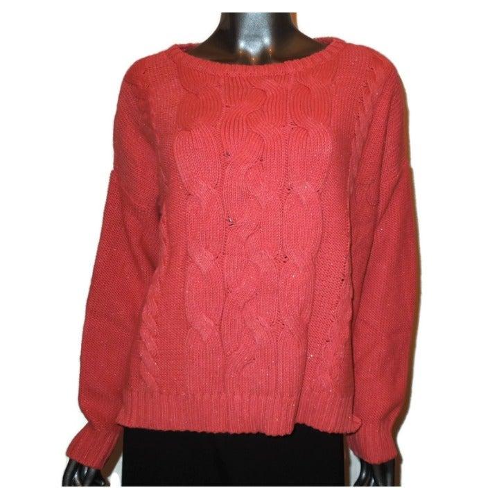 LIZ CLAIBORNE Metallic Orange Sweater L