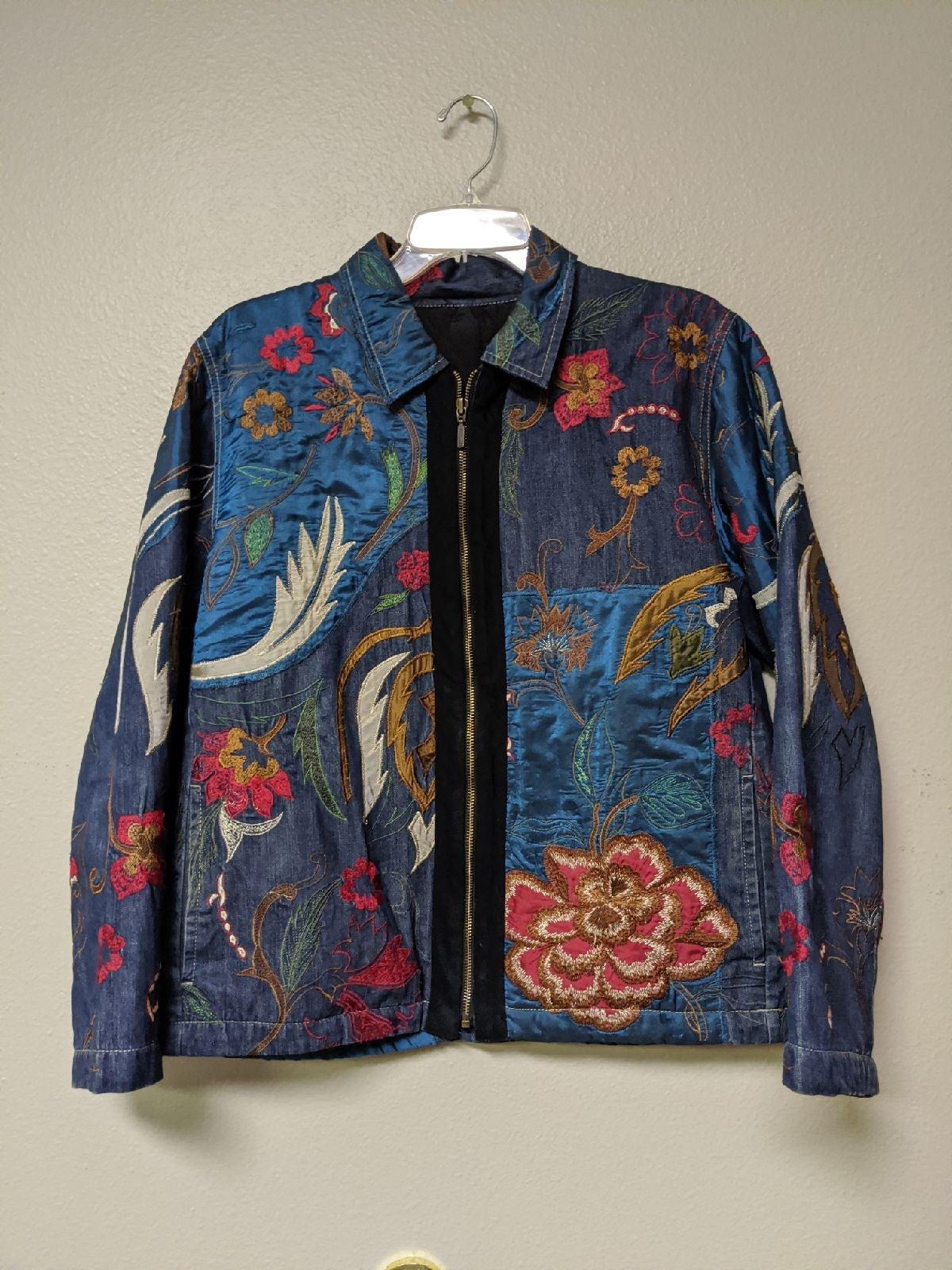 Floral Embroidered Denim Spring Jacket