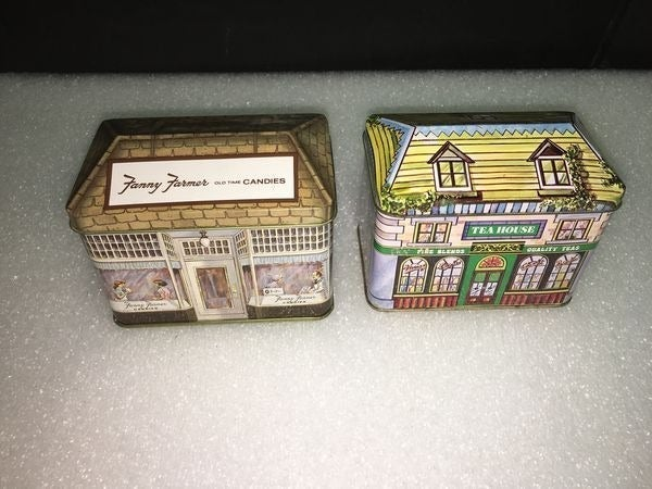Vtg Lot of 2 Hinged Tin Canisters Japan