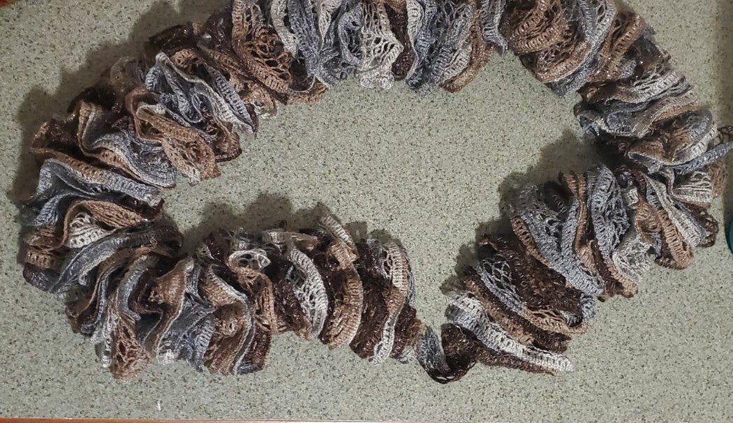Gray and Brown Ruffled Scarf