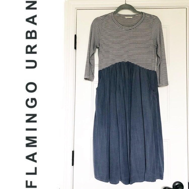 Flamingo Urban Blue Striped Midi Dress