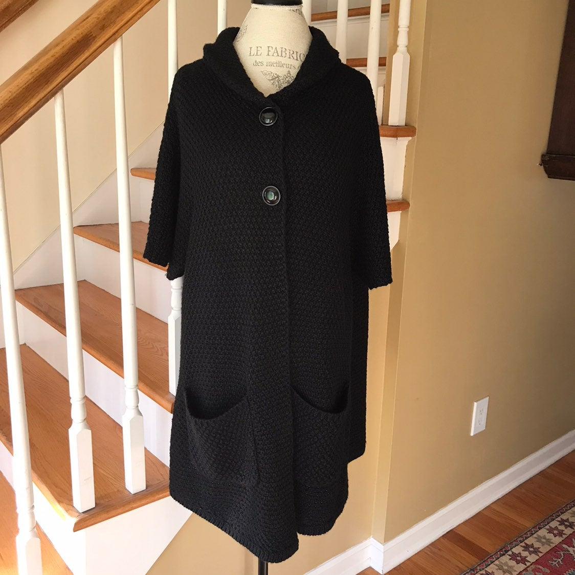 Chicos Black Tunic Cardigan Sweater Wool