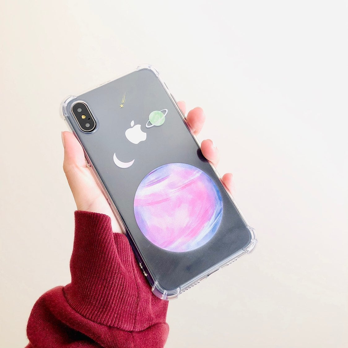 Pink venus iphone xs max clear case soft