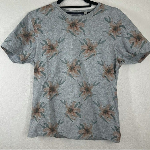 Ted Baker Gray Floral Cotton T-Shirt Cre