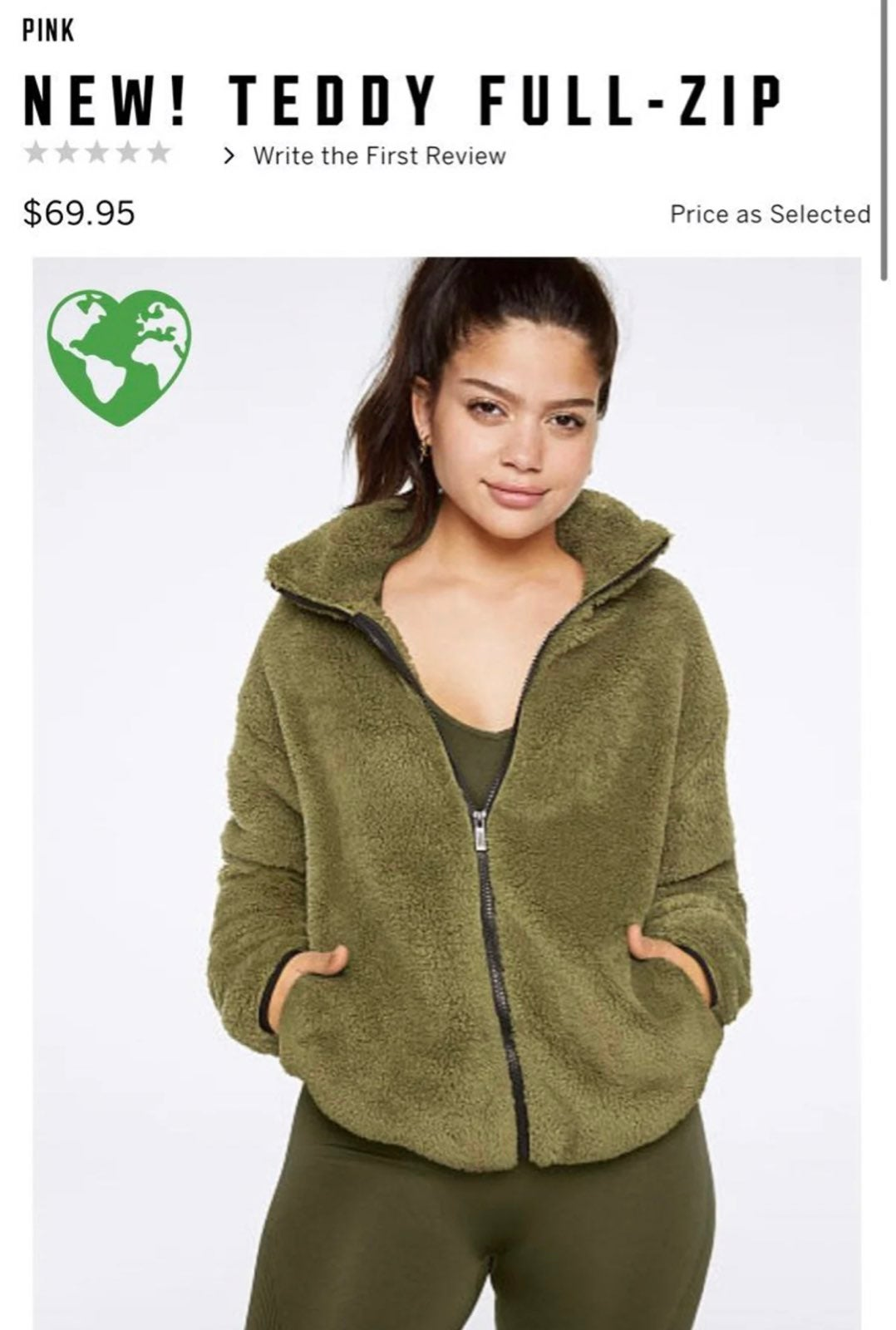 New VS PINK Teddy Full Zip Vintage Green