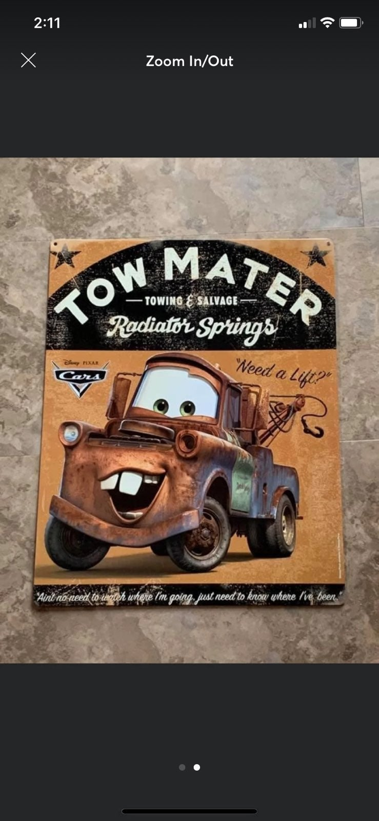Disney CARS Tow Mater metal sign