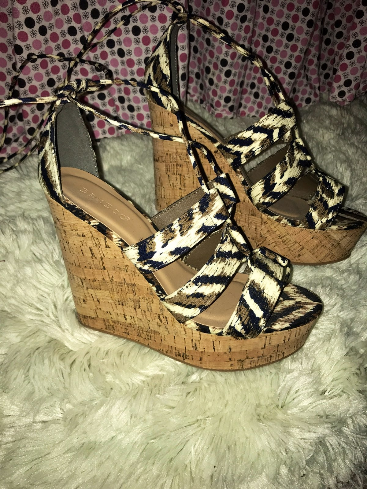 Lace Up Wedge Heels