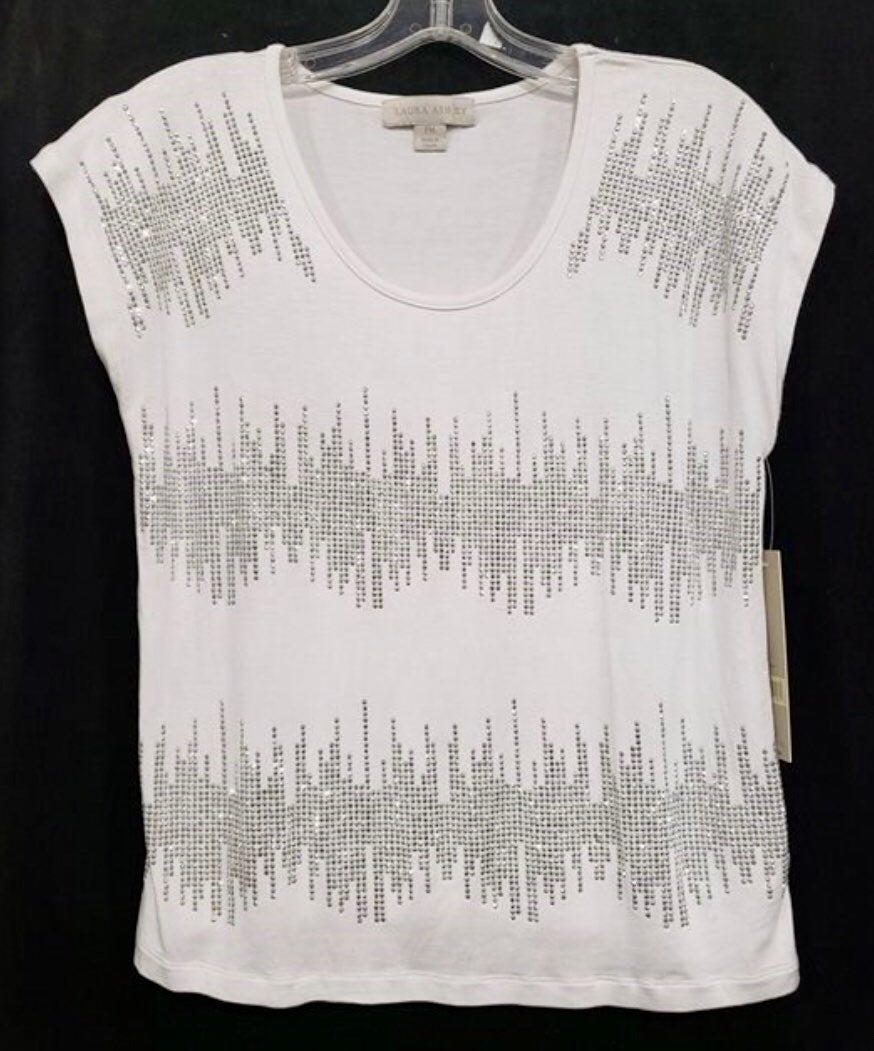 Laura Ashley white studded top, NWT. PM
