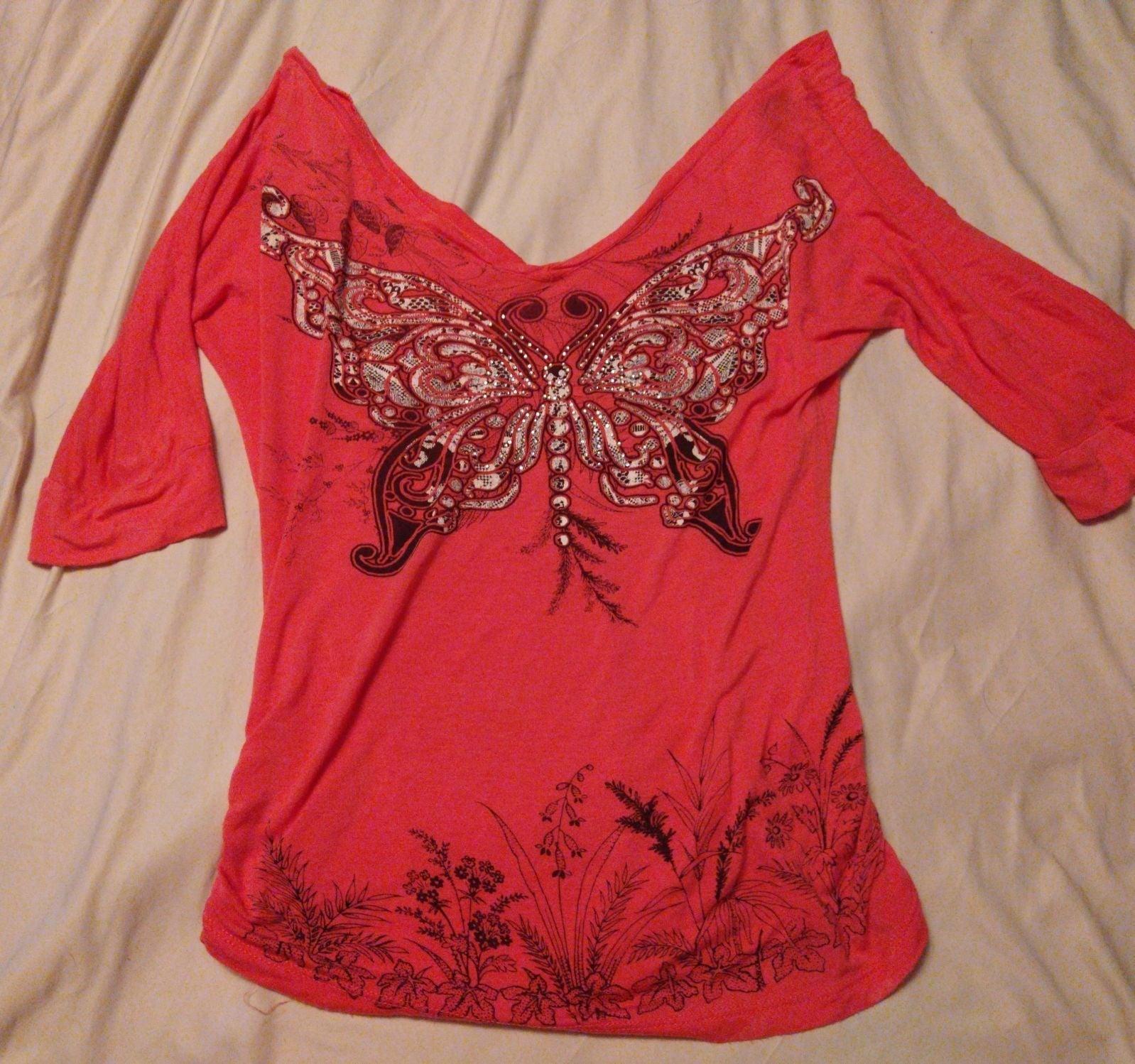 Double V-neck Embellished Coral Top M
