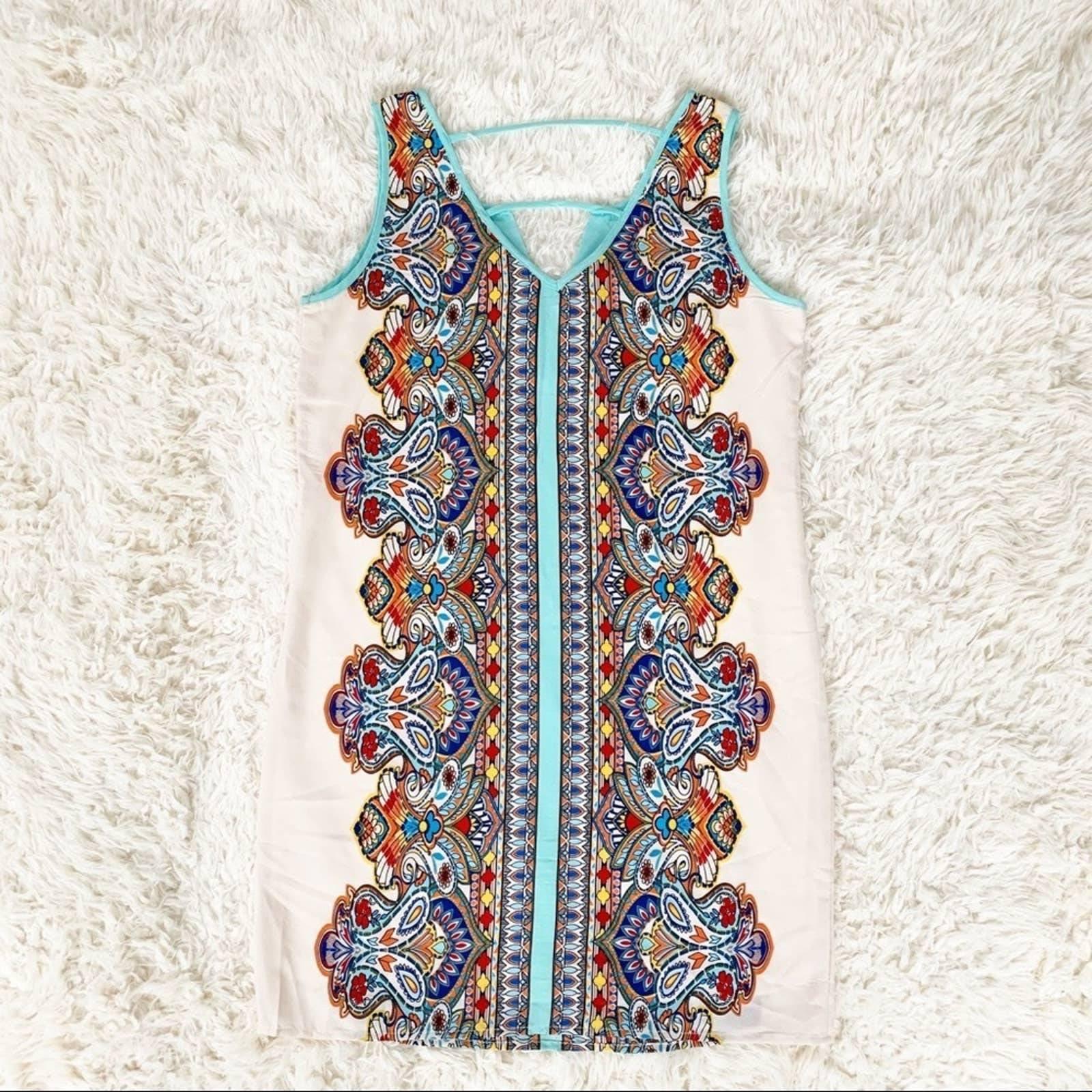 PINK OWL Sleeveless Sheath Art Geo Dress