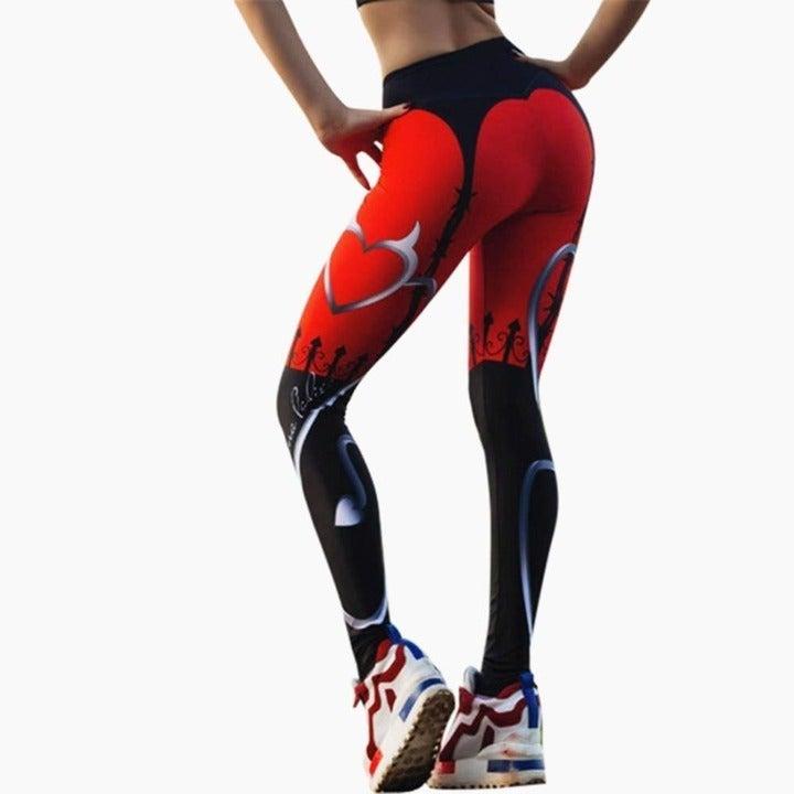 Sexy Heart Print Leggings Red Black