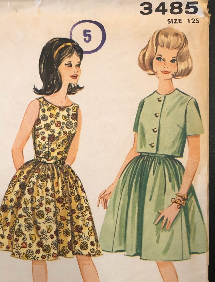 Vintage Advance Pattern 60s Girls Dress