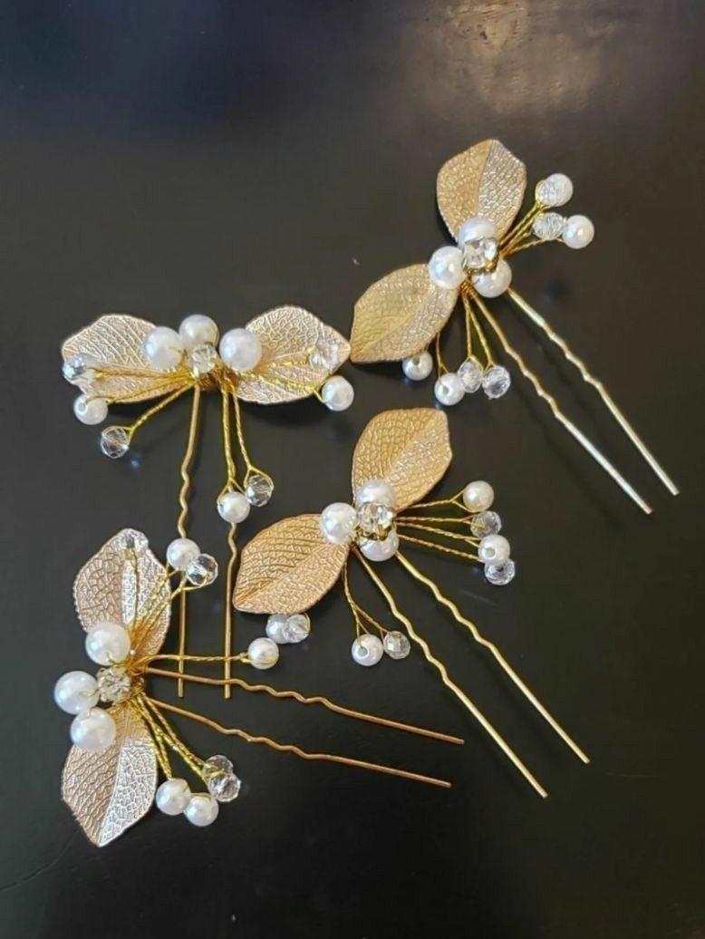 Golden Pearl 4 Hair Pins