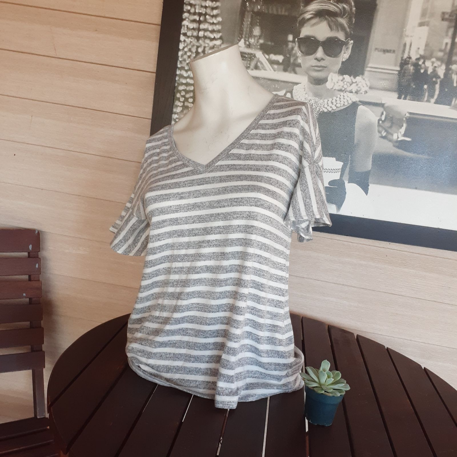 NWT A New Day Striped Ruffle Sleeve Top