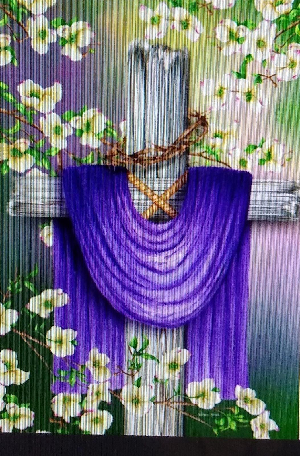 Purple Draped Cross/Flowers Diamond Art