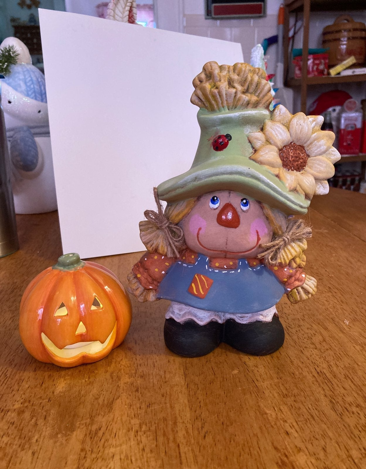 Scarecrow girl and pumkin