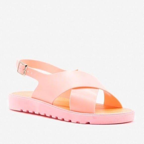NIB Bamboo Pink Putter Jelly Slingback S