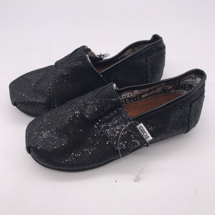 TOMS Girl's Black Glitter Size 9T Shoes