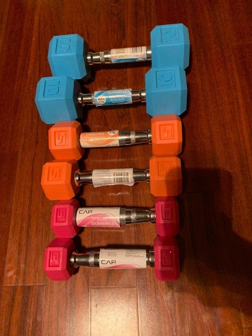 Colored dumbells 3,5,10 lb set