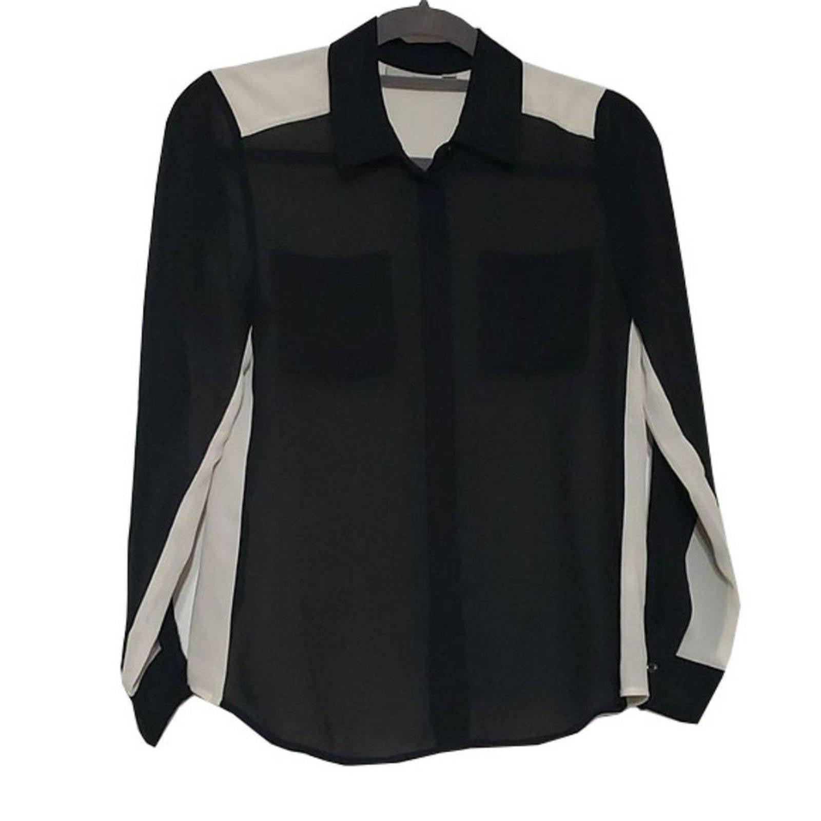 Halogen Silk Long Sleeve Block Blouse