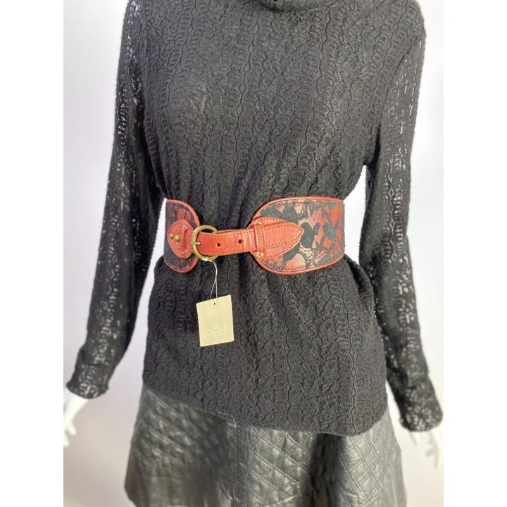 Anthropologie Leather and Lace Belt