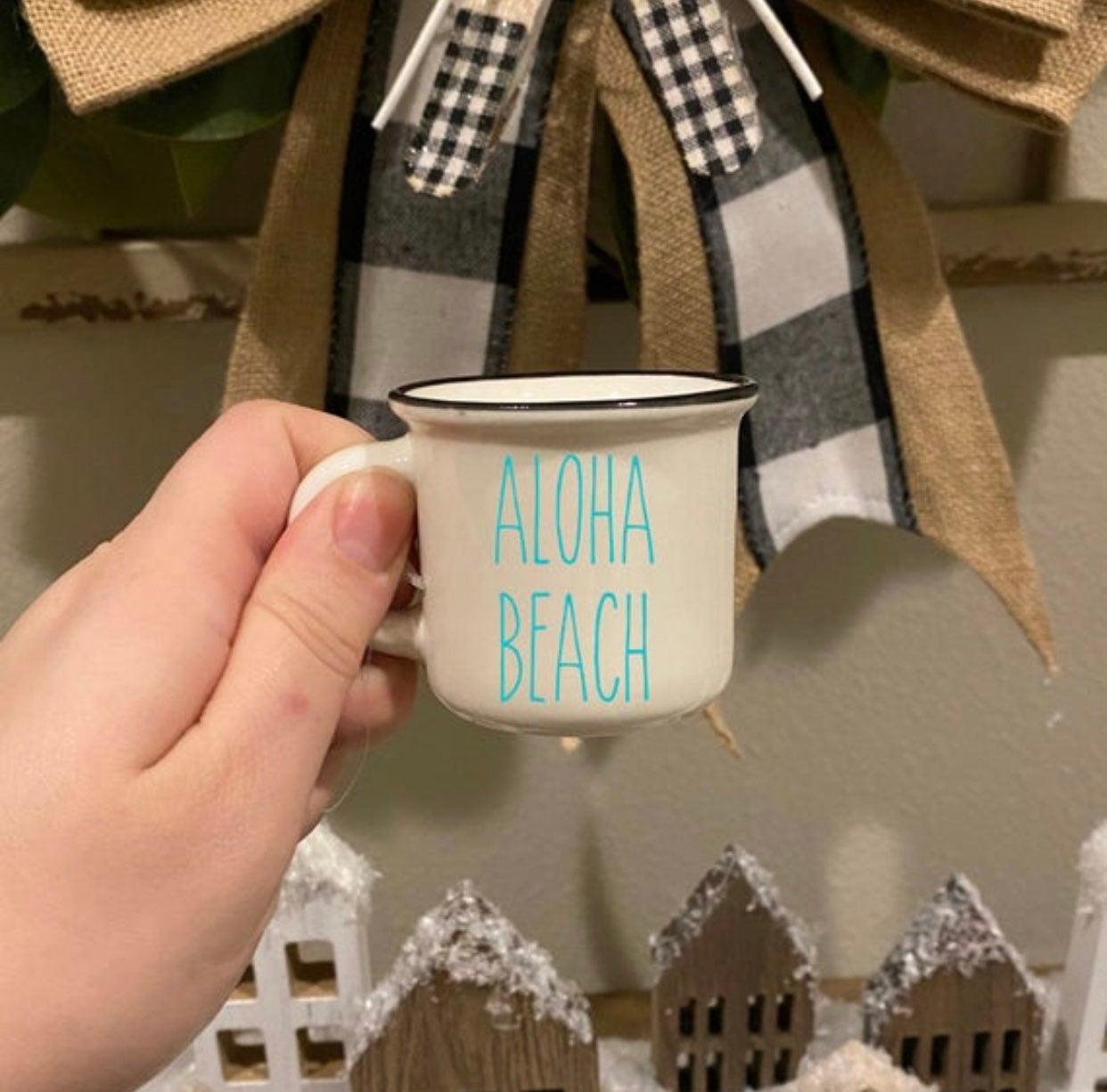 Rae Dunn Font Aloha Beach Mini Mug