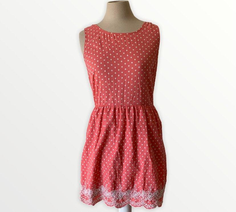 Pink owl coral colored polka dot dress