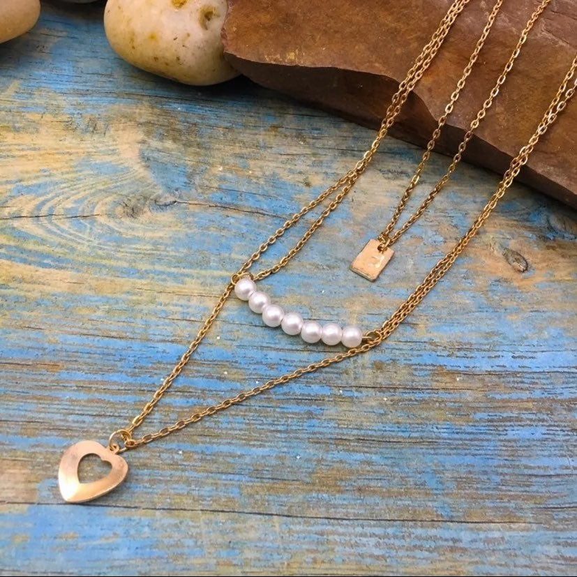 3 Layer Gold and Pearl Necklace