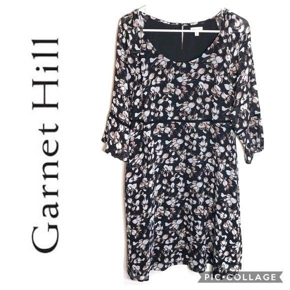 Garnet Hill Floral Silk Midi Dress Sz 6