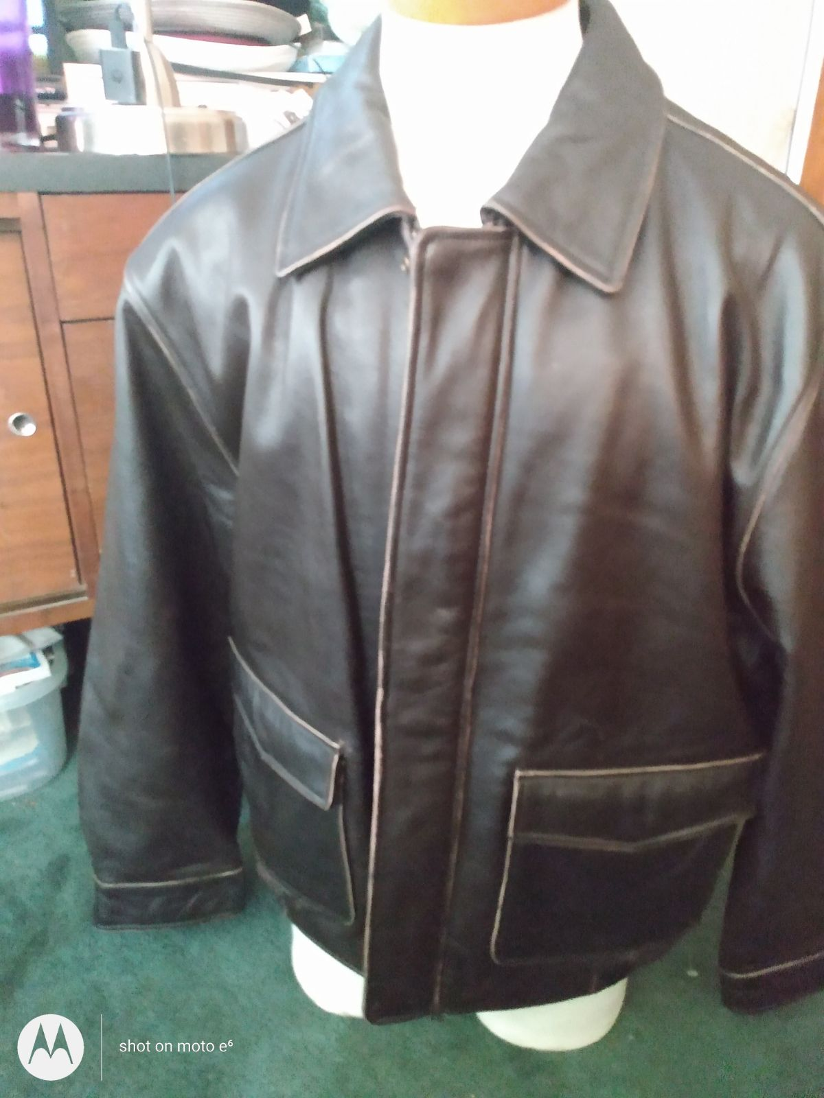 Jos A Banks brown leather jacket