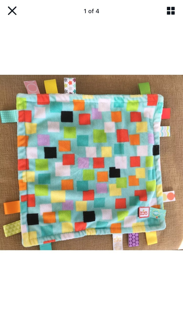 Bright starts taggies tags lovey blanket