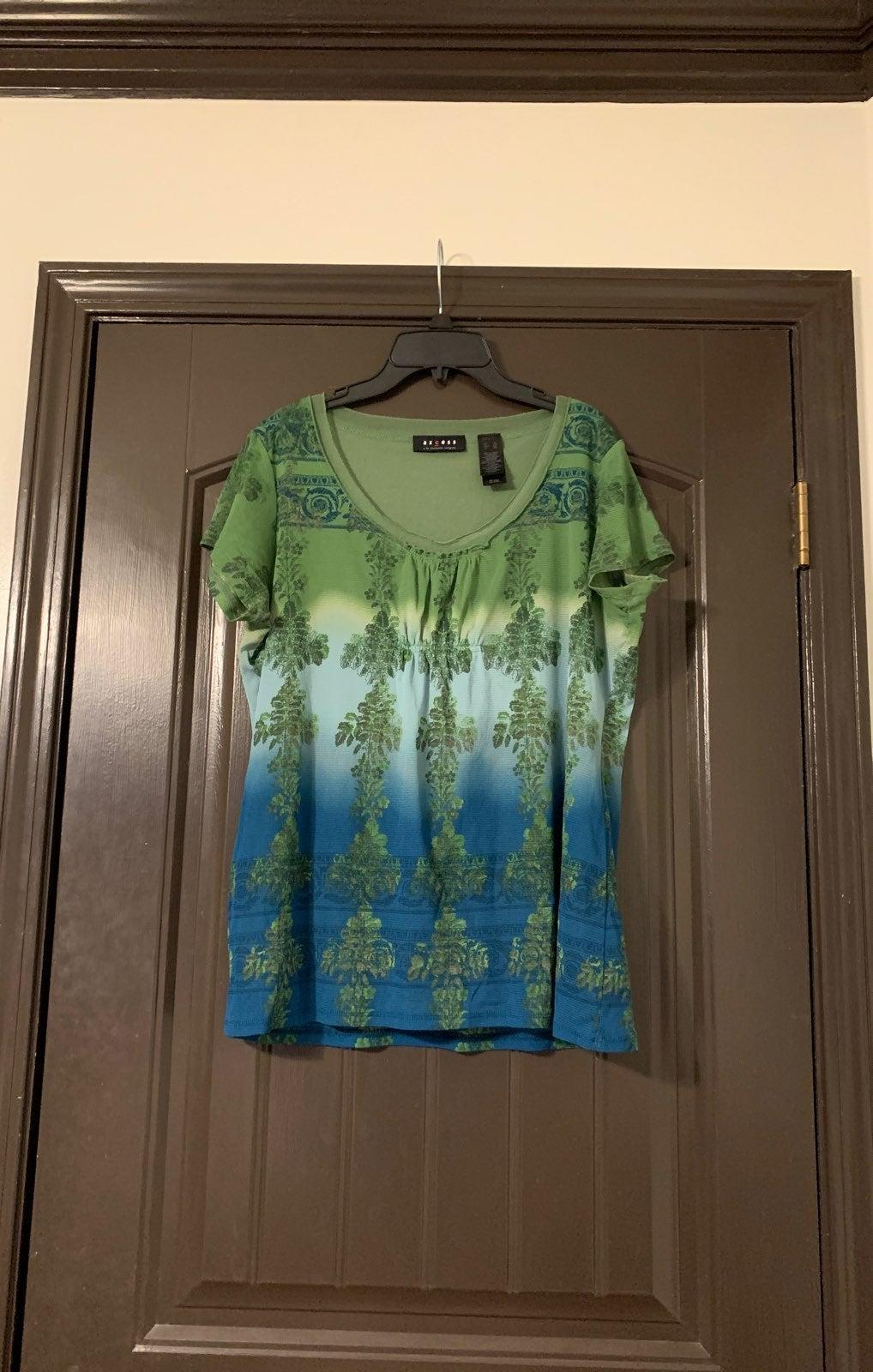 Axcess Blue/Green Blouse Womens XL