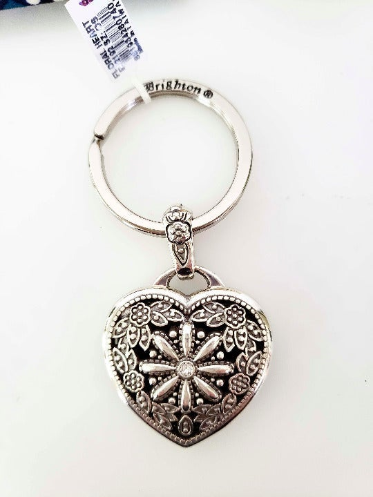 Brighton Floral Heart Locket Keychain