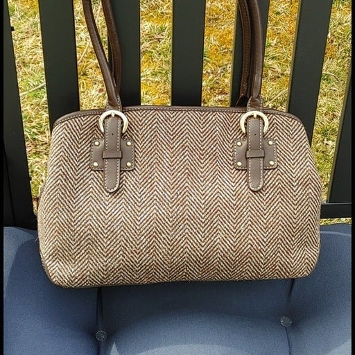Vintage Tweed Messenger Shoulder Bag