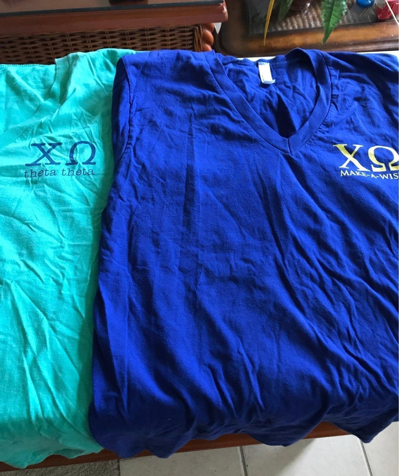 2 Chi Omega v-neck t-shirts Medium