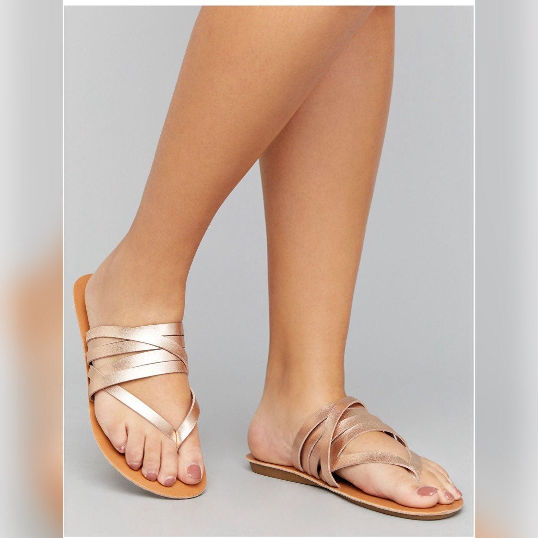 Rose Gold Strappy Sandals Size 10 W