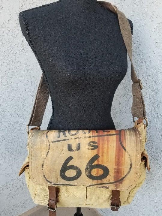 Route 66 canvas messenger bag