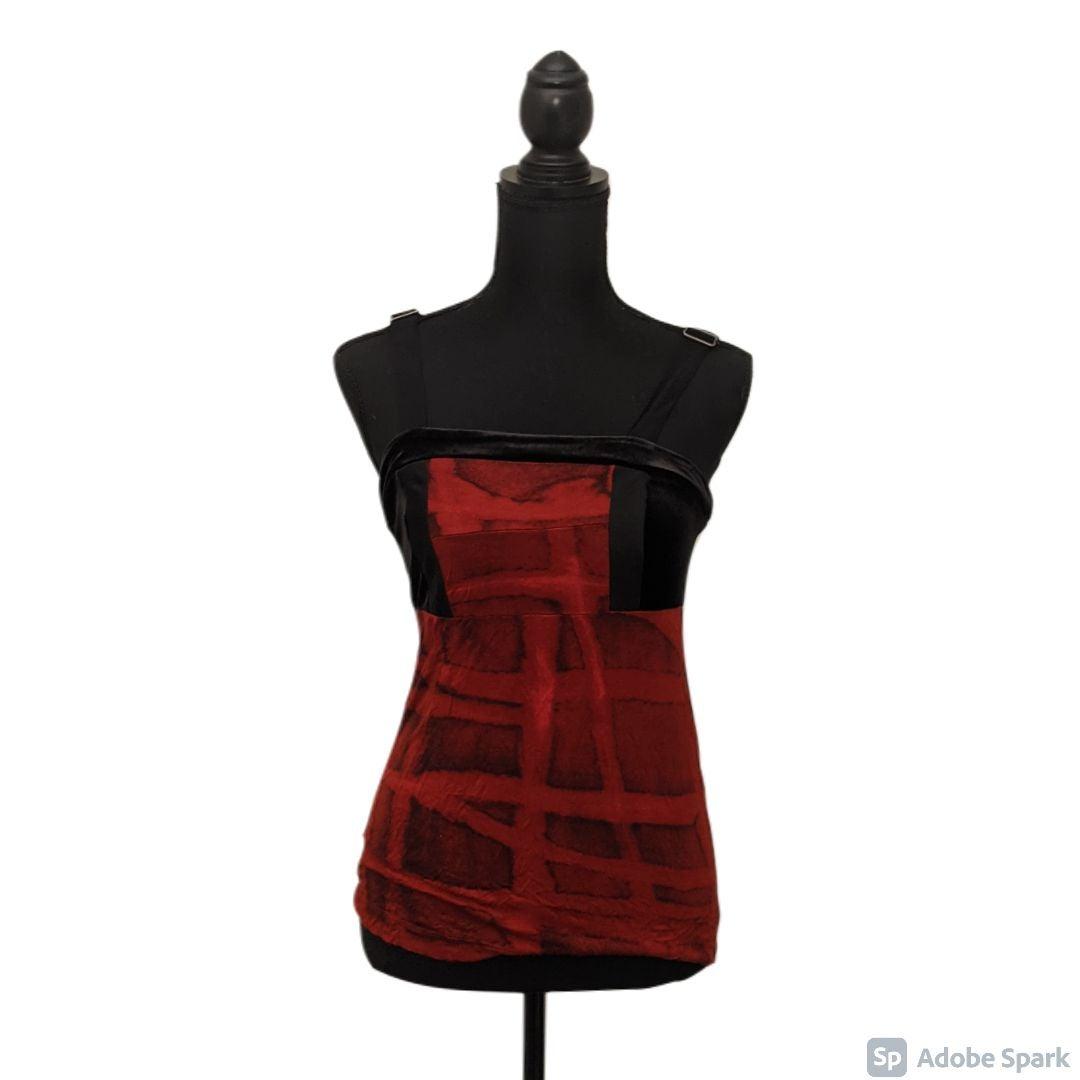 Vera Wang red and black velvet tank XS
