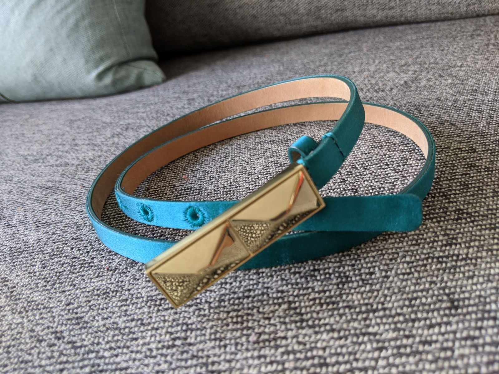 Talbots Teal leather skinny belt
